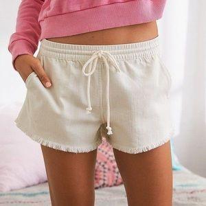 Aerie pull on pink fringe denim shorts small